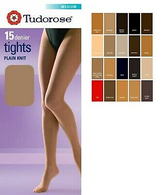 Ladies Women's 15 Denier Plain Knit Tights In Size Medium,Large and X-Large