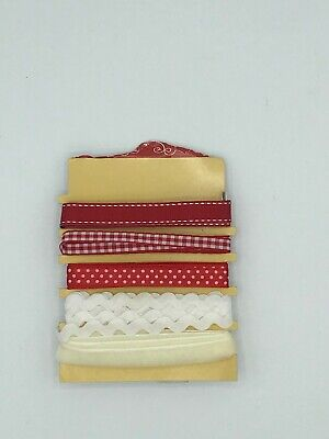 Selection of red, white/Christmas ribbons and ricrac