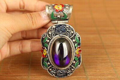 Chinese old tibet silver cloisonne inlay jade big statue pendant collectable