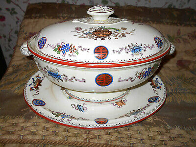 "Antique Wedgwood""Basket"" Aesthetic Soup Tureen Victorian 1880s~Lovely"