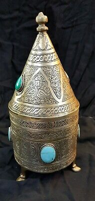 Wonderful Islamic Silver on Brass Egyptian Box With Green & Blue Turquoise Stone