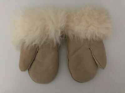 Faux Suede Sheepskin And Fur Ladies Womens Gloves Size Small Beige Natural