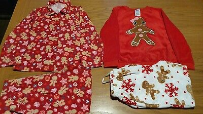 Lovely 2 Pairs Of Girls Christmas Pyjamas Gingerbread Men Age  6-7 Yrs