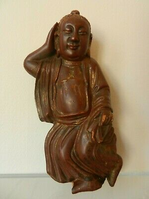 Antique 19th C  Chinese Qing Lacquered Gilt Wood Happy Buddha Hotei Statue.