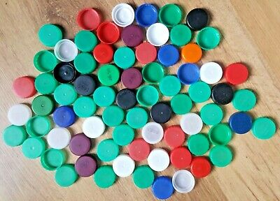 75 Used Milk /Drink Bottle Tops/ Lids Various Types and Colours Arts & Crafts