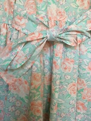 BN 1980s 4-5 VINTAGE GIRLS DRESS COTTON BHS BEAUTIFUL FLORAL ROSES TIE PEACH