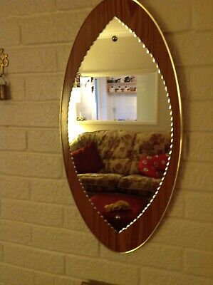 Attractive Vintage Mirror On Teak Style Wood.