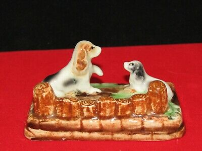 Vintage 2 Dogs Dog Black and White Figurines Made In Occupied Japan