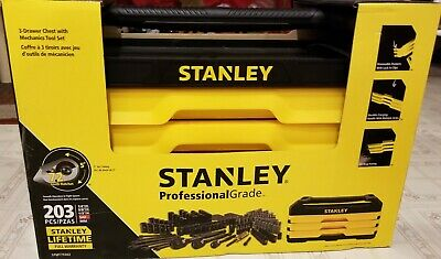 Stanley 203 Piece Tool  Set And 3 Drawer  Box