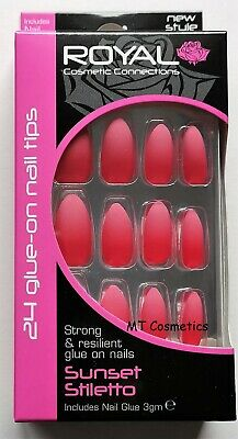 Royal Full Coverage False Nails Pack with Glue Sunset Stiletto