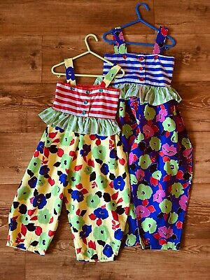 4-5-6 BN CHEEKY 80s x2 TRUE VINTAGE GIRLS COTTON DUNGAREES FLORAL STRIPE TWINS