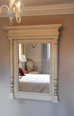 Stunning huge Antique French painted walnut shabby chic column mirror c1900