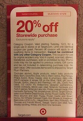 Target 20% Off Coupon On Your Order Valid From 12/3-12/14/19! CHECK EXCLUSIONS!