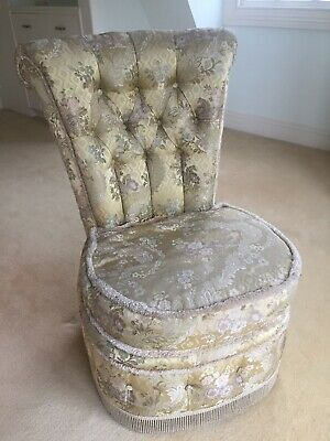 Boudoir bedroom chair upholstered gold brocade with buttons