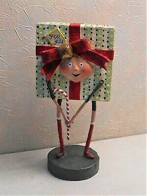 Lori Mitchell All Wrapped Up Gift Present Christmas Figure Lt. Green
