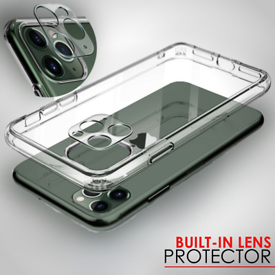 Case For iPhone 11, 11 Pro, 11 MAX Clear + Lens Cover & GLASS Screen Protector