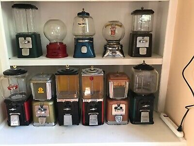 (11) Antique Gumball Machines Oak, Victor Topper, Ford, Hart, Silver King