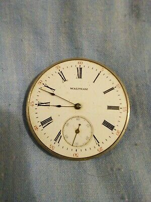 Pocket Watch Movement AWW Co Waltham Mass. Spares or repair 4cm diameter