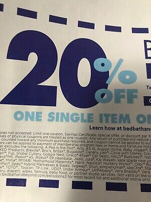 1 Bed Bath and Beyond Code 20% Off One Item online, MessageCode ASAP Exp12-26-19