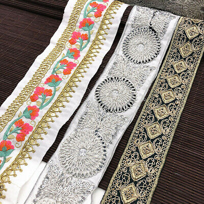 1 Yard Retro Blume Stickerei Spitze Trim Ribbon DIY Kleidung Bag Curtain Deko
