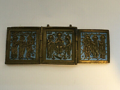 Antique Brass Folding Enamel Icon skladen triptych 19 th. century