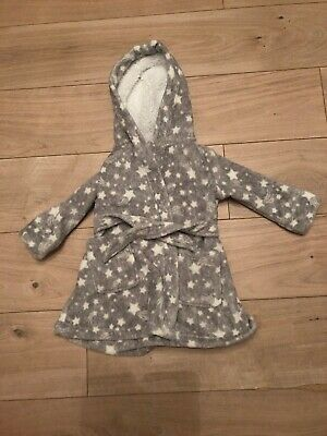 Baby Girls 1 Year Months Grey Star Hooded  Dressing Gown Perfect Conditon
