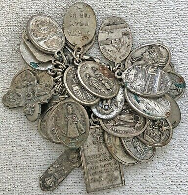 Antique Vintage Catholic Religious Holy Medals Lot 1/2 lb