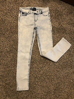 Girl's Jordache Jeggings Jeans 10-12 L Large Light Wash Distressed Ripped