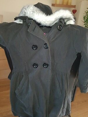 Age 8-9 girls black coat with a fake fur trim hood