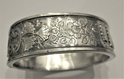 Stunning Victorian Sterling Silver Aesthetic Movement Bangle By S Bros Bham 1885