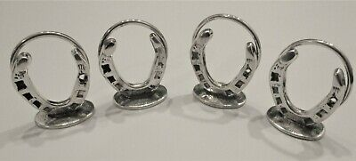 Superb Hallmarked Sterling Silver Menu Holders Lucky Horseshoe Equestrian 1947