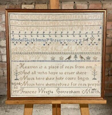 Lovely Antique Sampler By Frances Wright Covenham Dated 1856