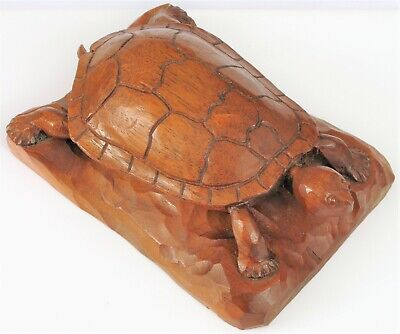 Vintage Folk Art Hand Carved Wood Turtle Decoration Beautiful Shell One Piece !