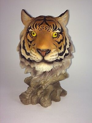 """10"""" Bengal Tiger Head Bust Collectible Wildlife Figurine Statue Resin"""