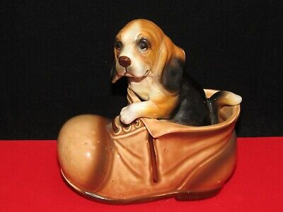 Vintage Brown Beagle Dog Puppy In A Shoe or Boot Figurine Made in JAPAN