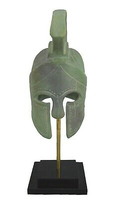 King Leonidas small Helmet - 300 Spartans - Ceramic sculpture with Green Effect
