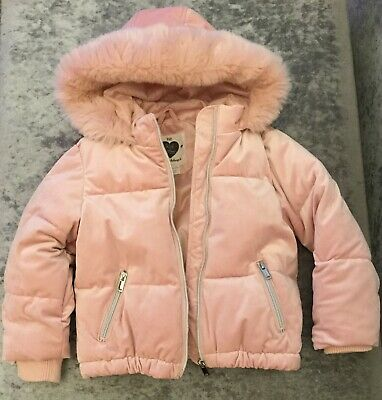 Girls Pink Winter Jacket Coat With Faux Pink Fur Hood Age 6-7 Years F&F Next