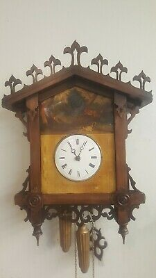 Beautiful antique tinplate cuckoo clock