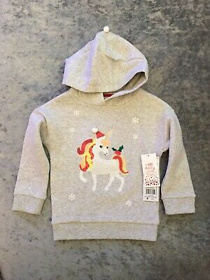 BNWT Girls Sequin Unicorn Christmas Hoodie Jumper F&F Next Age 2-3 Years