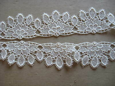 7 1//2 YDS OFF WHITE VICTORIAN MEDALLION RAYON VENISE LACE INSERT