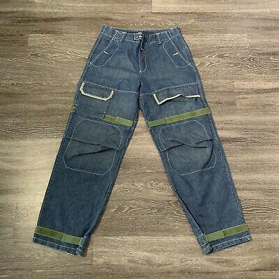 90s HipHop Marithe Francois Girbaud Mens Green Shuttle Strap Jeans Mens, 34M