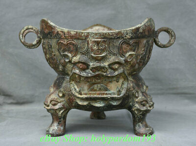 """12"""" Antique China Bronze Ware Dynasty Palace Beast Face Zun drinking vessel"""