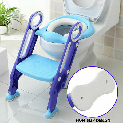 Kid Trainer Toilet Potty Training Seat Baby Toddler Chair Padded Step Up Ladder