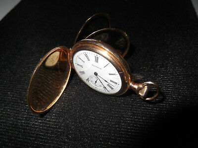 Antique Waltham Small Pocket Watch Full Hunter J Boss Keystone Gold Case Nice