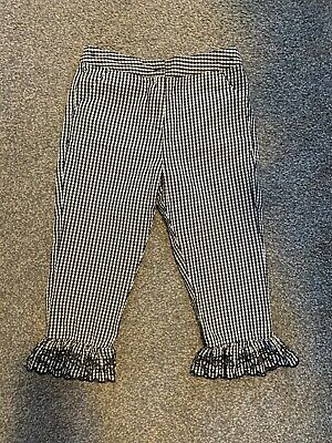 Next BN Girls Black/white Gingham Cropped Trousers With Frills. 7 Years.