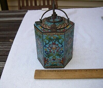 SUPERB Small Qing Dynasty CHINESE CLOISONNE TEA KETTLE w/WATER BATH-NICE-NR