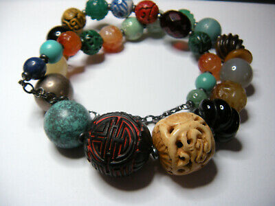 From the 80's...Designer Gemstone Necklace, Sterling, Chinese Carved Shou Beads