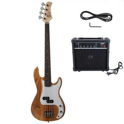 New GP Glarry Electric Bass Guitar Bass w/ 20W AMP Burlywood