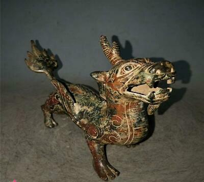 Beautiful Chinese Antqiue Warring States Bronze ancient beast Cover Ding
