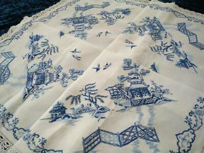 Exquisite Blue Willow   Vintage Heavily Hand Embroidered Tablecloth